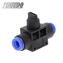 цена на HVFF Air Pneumatic Hand Valve Fitting 4mm-12mm OD Hose Pipe Tube Push Into Connect T-joint 2-Way Flow Limiting Speed Control
