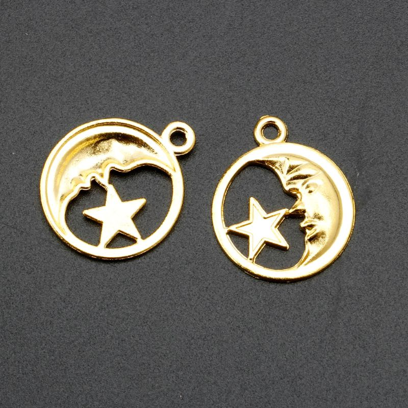 Moon Star Round Resin Frame Pendant Open Bezel Setting Resin Jewelry Making 10Pc