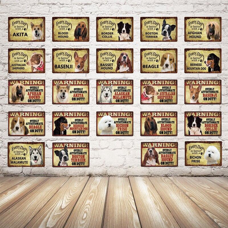 Pastoral encantadoras mascotas perro placas de Metal Corgi apita Beagle perro señal de advertencia lata cartel de placa decoración de pared de hogar y bares arte pintura Nuevo café es siempre cartel Vintage Metal letrero placas arte de pared decoración del hogar Vintage señales de estaño para pub Bar decorativo 15X30CM C15