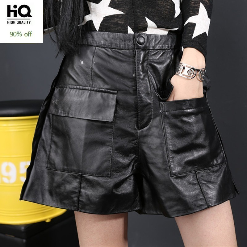 High Street Pockets Womens Loose Fit Wide Leg Shorts Autumn Winter New Fashion Genuine Leather Sheepskin Shorts Plus Size S-4XL