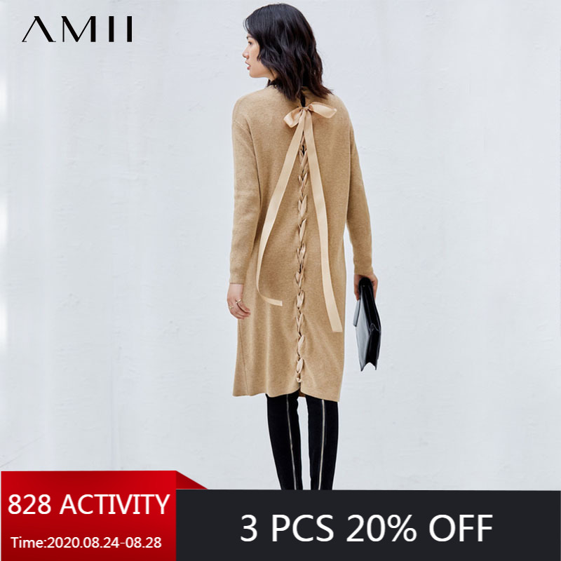 AMII Minimalism Autumn Winter Solid Knitted Women Dress Fashion Oneck Bow Knee-length Female Dress 11840287