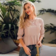 Simplee Gekräuselte spitze stickerei frauen bluse hemd Elegante elastische hülse weibliche schößchen top Sommer casual damen bluse shirt