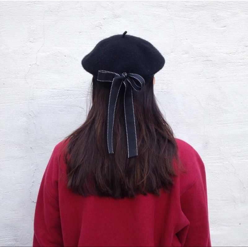 2019 جديد الموضة المرأة لينة القوس قبعات أنيقة الشتاء قبعة تدفئة Harajuku الصوف قبعة القبعات مع Bowknot