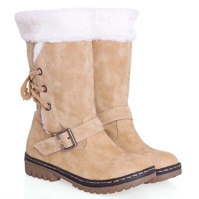 Women's Boots Belt-Buckle Shoes Short-Tube Velvet Plus Non-Slip Tide Cotton