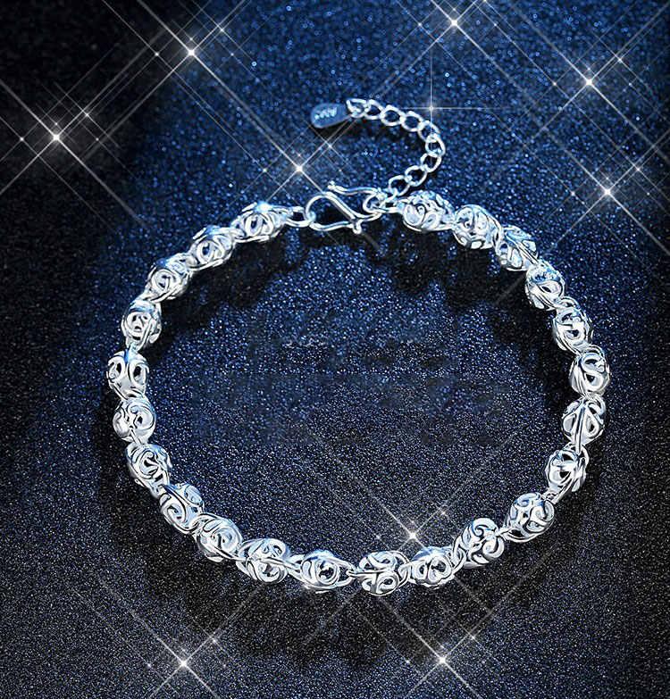 Gorąca sprzedaż Hollow Ball bransoletka dla kobiet dziewczyna 925 srebro bransoletka prezent na Boże Narodzenie S-B201