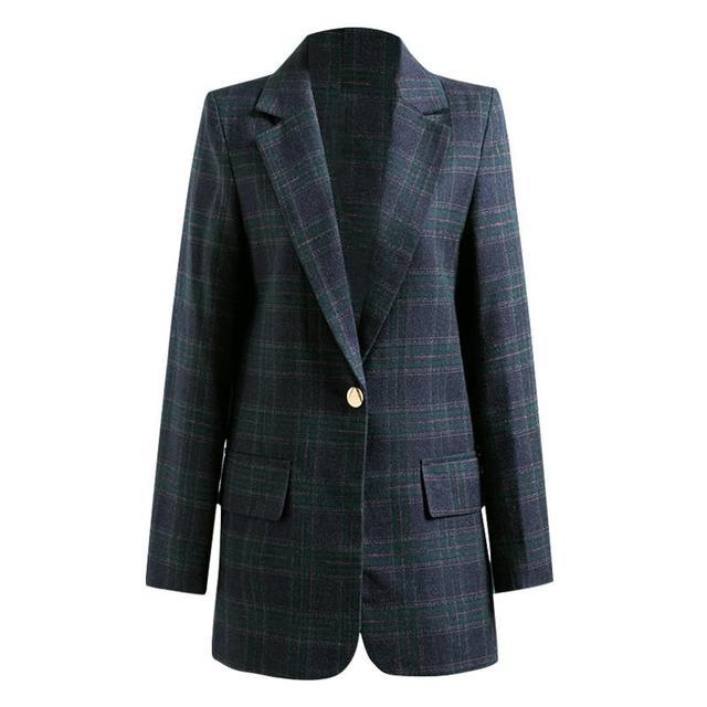 Lauri Laki New Plaid Office Lady Blazer Women Elegant Work Wear Lattice Black Blazer Jacket Maxi Autumn Outwear Chic