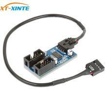 Cable de extensión hembra macho de 1 a 2/4 con conector USB de 9 pines XT XINTE, tarjeta de escritorio, de 9 pines concentrador USB 2,0, Multiplicador de puerto de conector de 9 pines