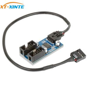 Image 1 - XT XINTE 9pin USB Đầu Nam 1 Đến 2/4 Nữ Dây Nối Dài Thẻ Để Bàn 9 Pin Hub Chia Cổng USB 2.0 9 Pin Kết Nối Cổng Số Nhân