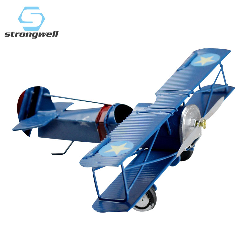 Strongwell Retro Fighter Figurine Metal Antique Airplane Model Statue Classic Fighter Crafts Cafe Bar Decoration Biplane Gift image