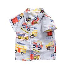Cute Summer Baby Boys Casual Blouse Cotton Short Sleeve Cartoon Pattern Loose Kids Tops Casual Blouse Clothes Outfits casual twist blouse