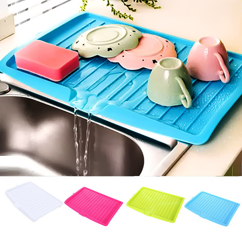 Kitchen Drain Rack  Plastic Dish Drainer Tray Large Sink Drying Rack Worktop Organizer Drying Rack For Dishes