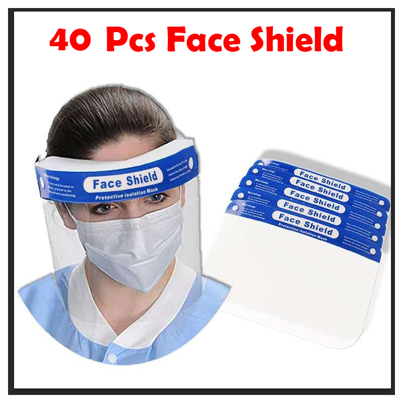 40 Pcs Professional Dental Face Shield For Dentist Dental Protective Detachable Visor Films Anti-Fog Dustproof For Adult