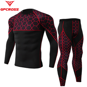 GPCROSS Men Motorcycle Underwears Suits Sport Quick drying Perspiration Fitness Base Layers Tight Tops&Pants Sportswear Underwea
