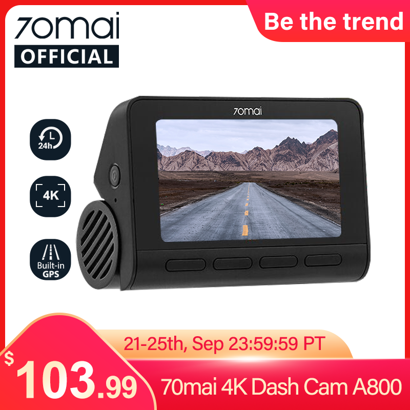 70mai A800 스마트 대시 캠 4K 내장 GPS ADAS 리얼 4K 카메라 UHD 시네마 품질 이미지 24H 주차 SONY IMX415 140FOV