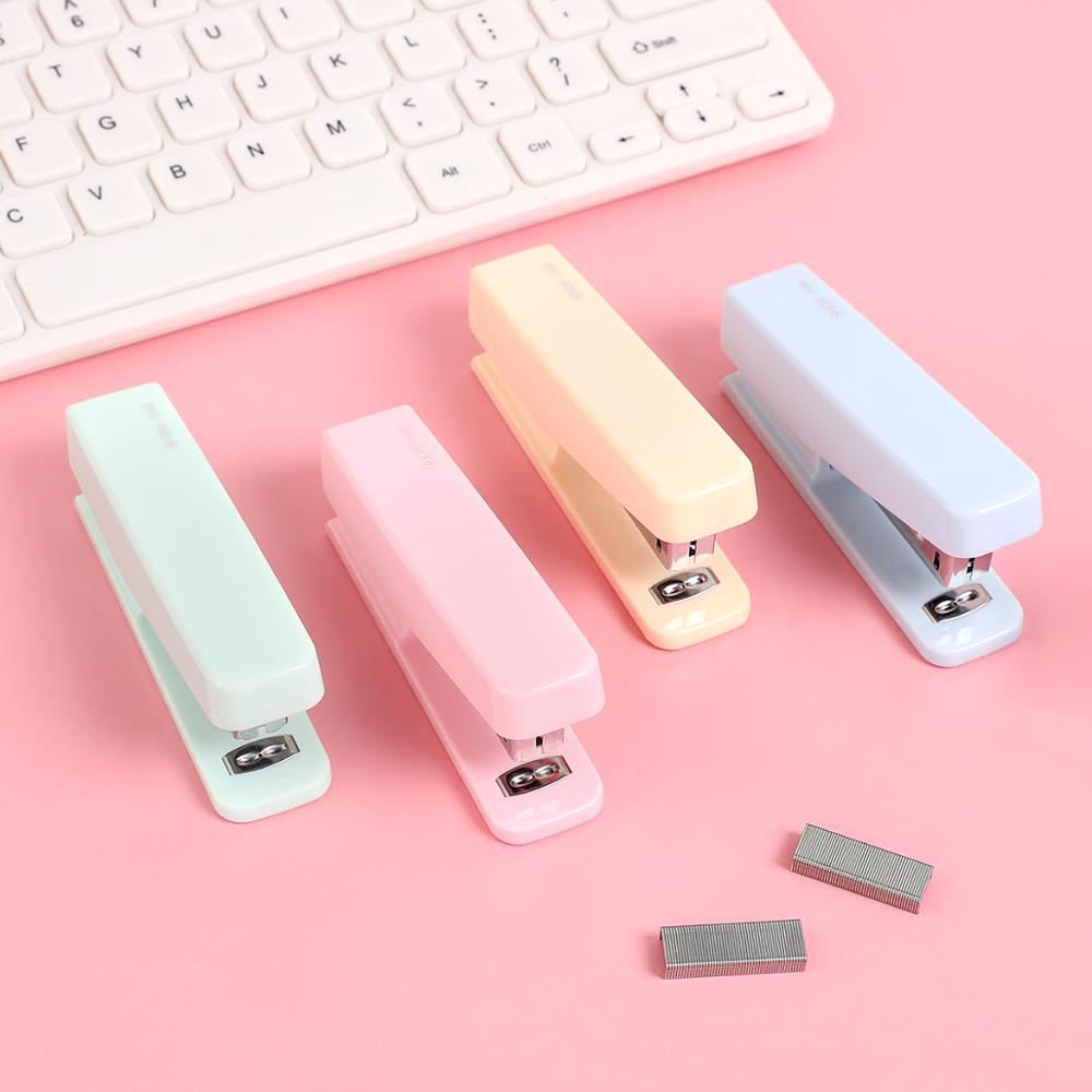 JIANWU10# Cute Macarons Color Stapler Creative Pure Color Binding Machine Give Staples Kawaii School Office Supplies