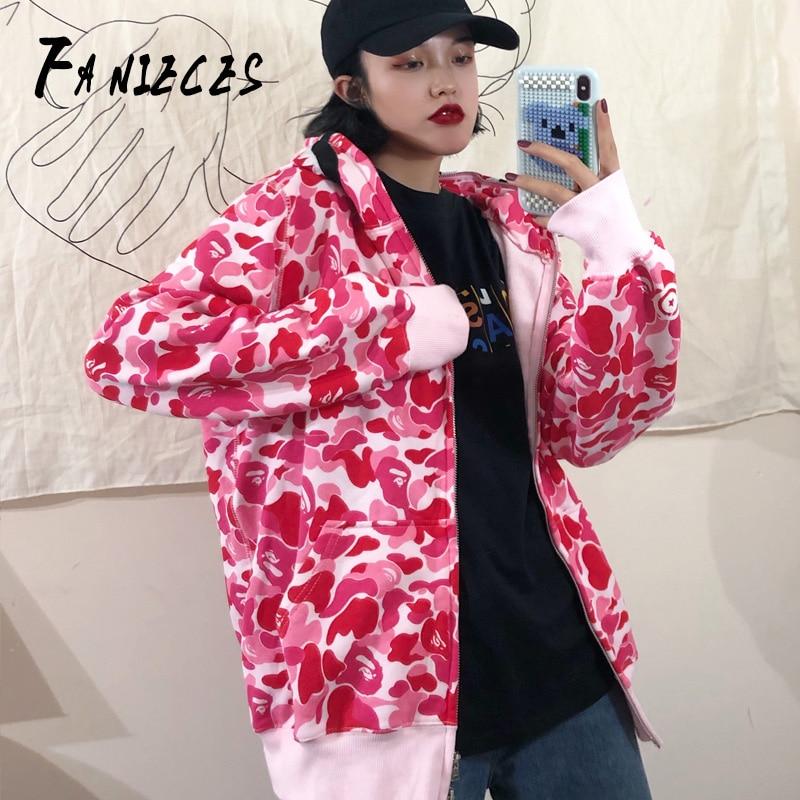 Shark Print Pink Hoodies Women Anime Kawaii Hooded Cute Sweatshirts Plus Size Zipper Long Sleeve Cotton Autumn Bluza Damska