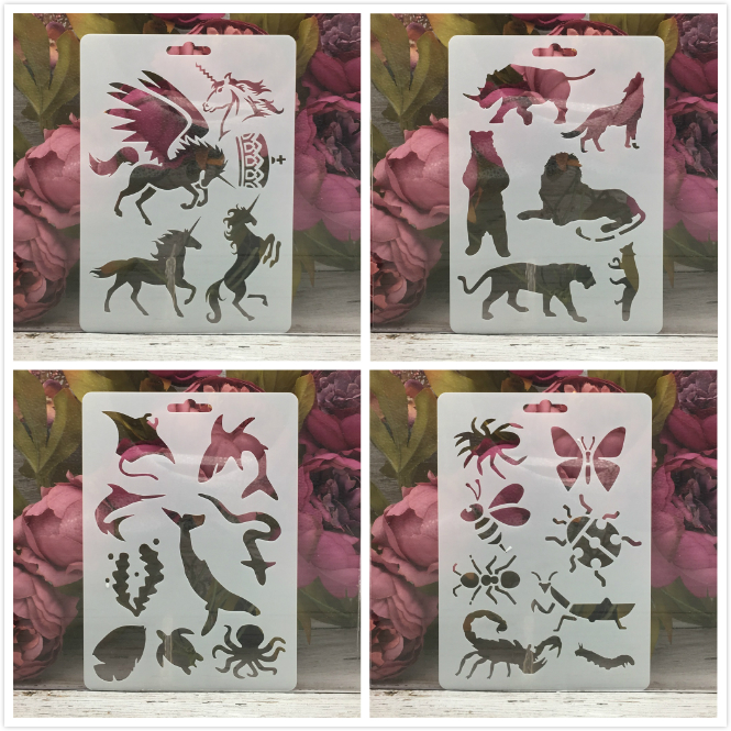 4Pcs/Set 17.8*12.7cm Unicorn Animals  DIY Layering Stencils Wall Painting Scrapbook Coloring Embossing Album Decorative Template