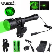 Tactical Green/Red XP-E2 LED Light Hunting Flashlight with Zoom Function +2pcs Battery+USB Charger+Scope Mount+Remote Switch
