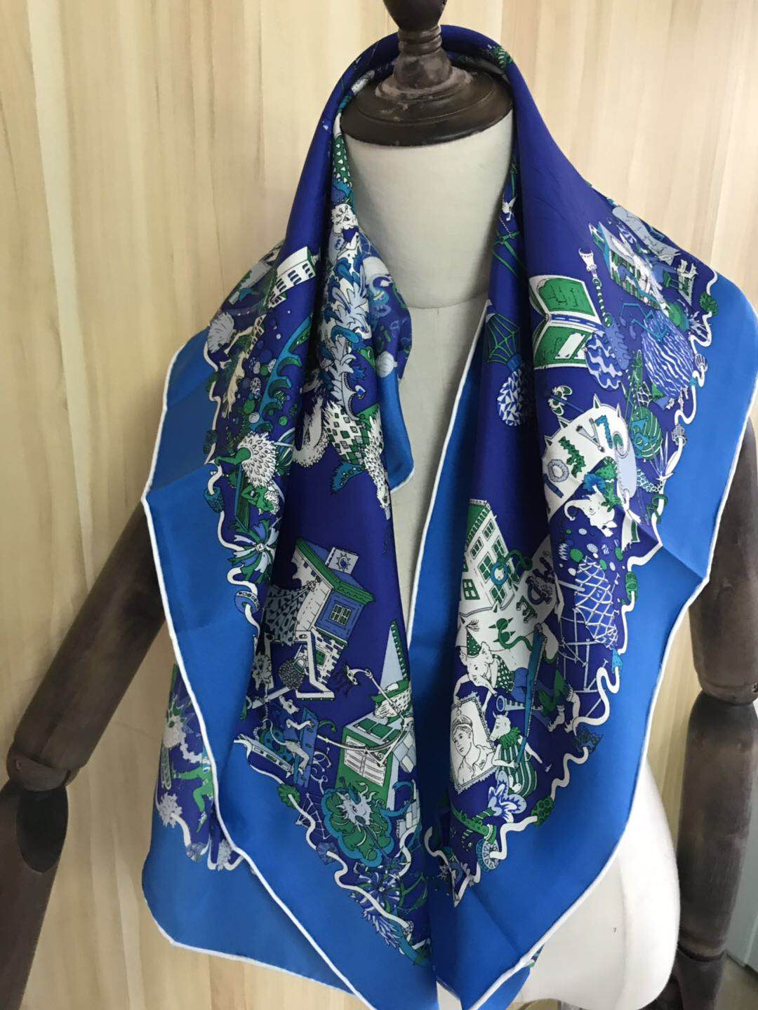 2020 new arrival spring autumn classic carriage 100% pure silk scarf twill hand made roll 90*90 cm shawl wrap for women lady