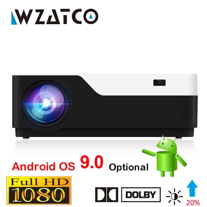 Wzatco 1920x1080 p android 9.0 wifi apoio ac3 4 k 200 polegada completa hd 1080 p led projetor vídeo proyector para teatro em casa 5500 lúmen