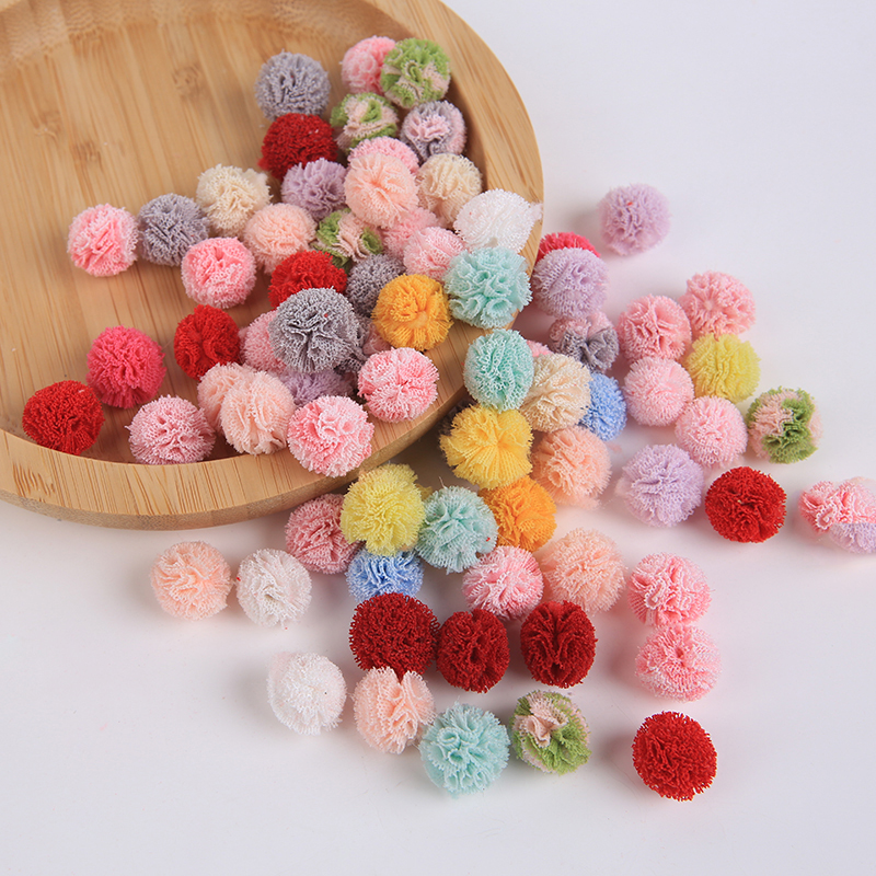50Pc 13mm Cloth flower ball paste jewelry DIY Craft Supplie Headwear Brooch Crochet Toys Decor Jewelry Accessory Small Caps Gift