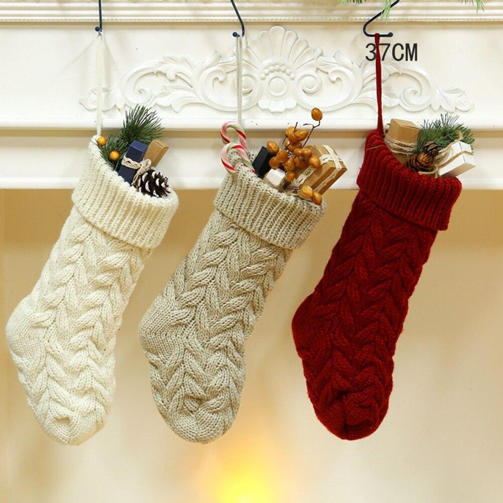 Рождественские чулки для подарков вязаные носки с Санта-лосем, Рождественская Милая Подарочная сумка для детей, камин, елка, рождественские...
