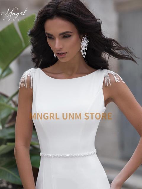 MNGRL White Simple Retro Wedding Dress O-neck Sleeveless Shoulder fringe Wedding Gown Backless Chiffon Custom Made Plus Size 1