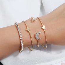 4Pcs Women Rhinestone Star Moon Heart Bangle Bracelet Wristband Jewelry Gift New Woman's accesories charm bracelet moon star rhinestone studded bracelet watch