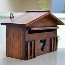 1pc caixa de correio de madeira outddor post caixa de sugestão à prova de chuva caixa de carta criativa para casa empresa