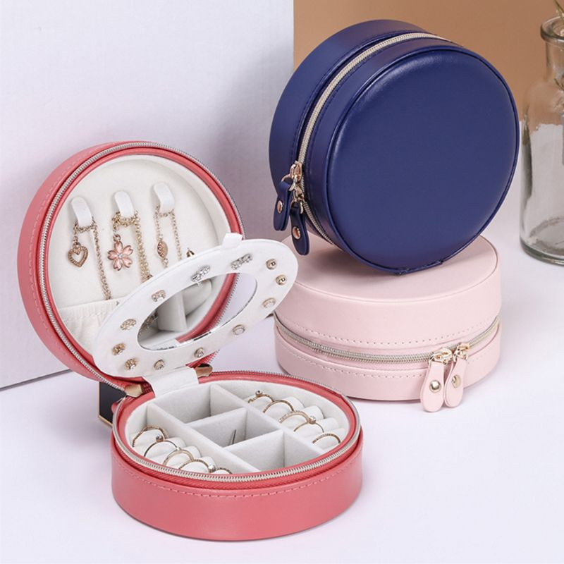 Portable Round Jewelry Box Faux Leather Jewellery Earrings Display Organizer Jewerly Storage