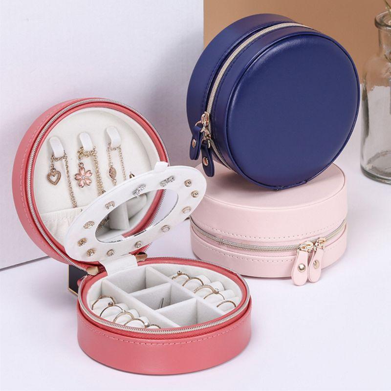 Portable Round Jewelry Box Faux Leather Jewellery Earrings Display Organizer Jewerly Storage Box