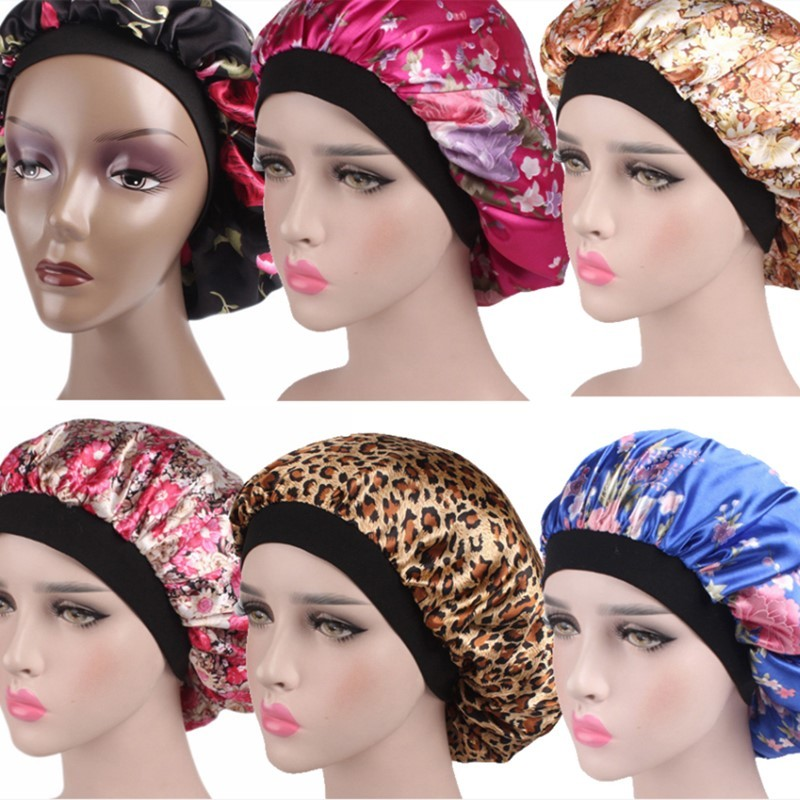 Hair Satin Bonnet Hair Styling Cap For Sleeping Shower Cap Silk Night Sleep Head Women Cover Wide Elastic Band Hair Styling Tool