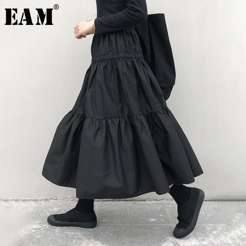 [EAM] High Elastic Waist Black Pleated Split Temperament Cake Half-body Skirt Women Fashion Tide New Spring Autumn 2020 1N535