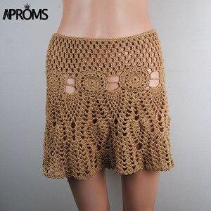 Image 4 - Aproms Candy Color Handmade Cotton Knitted Crochet Mini Skirts Women Summer Hollow Out High Waist Beach Skirt White Bottoms 2020