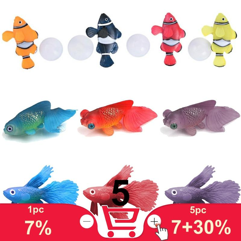 Fluorescent Artificial Fish Toy, Clownfish Rumble Fish Goldfish model toy with suction cup sucker play with fish aquarium tank