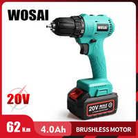 WOSAI 20V Bürstenlosen Akku-bohrschrauber Elektrische Schraubendreher Mini Wireless Power Fahrer DC Lithium-Ionen Batterie 3/8-Zoll