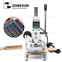 ZONESUN ZS 100A โลโก้ที่กำหนดเองฟอยล์ร้อนเครื่องปั๊มคู่มือ Bronzing เครื่อง PVC หนังกระดาษดินสอเครื่องปั๊ม