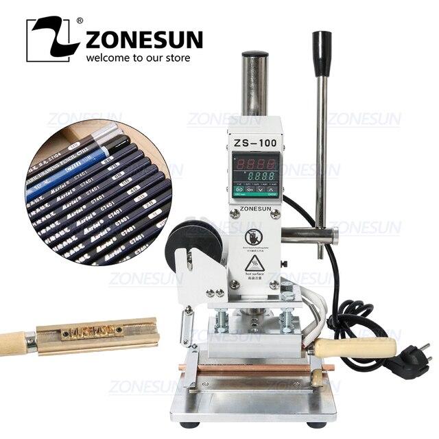 ZONESUN ZS 100A özel Logo sıcak folyo damgalama makinesi manuel bronzlaştırıcı makinesi PVC kart deri kağıt kalem damgalama makinesi