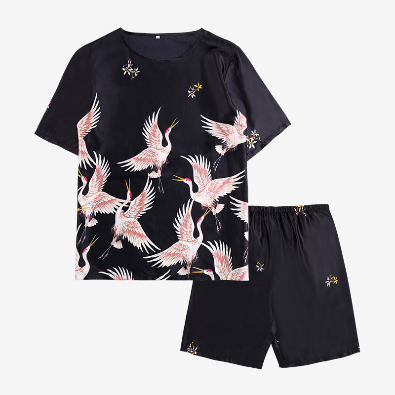 Pajamas Men'S Summer Silk Thin Section Short-Sleeved Crane Printing Two-Piece Suit Negligee The Tide Section Men'S Home Service