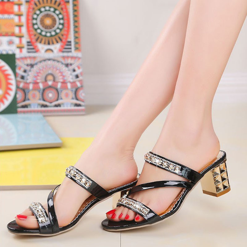 Women sandals 2019 Bling fashion square heel summer lace slippers women sexy Hollow sandals for women Women sandals 2019 Bling fashion square heel summer lace slippers women sexy Hollow sandals for women size 35-41