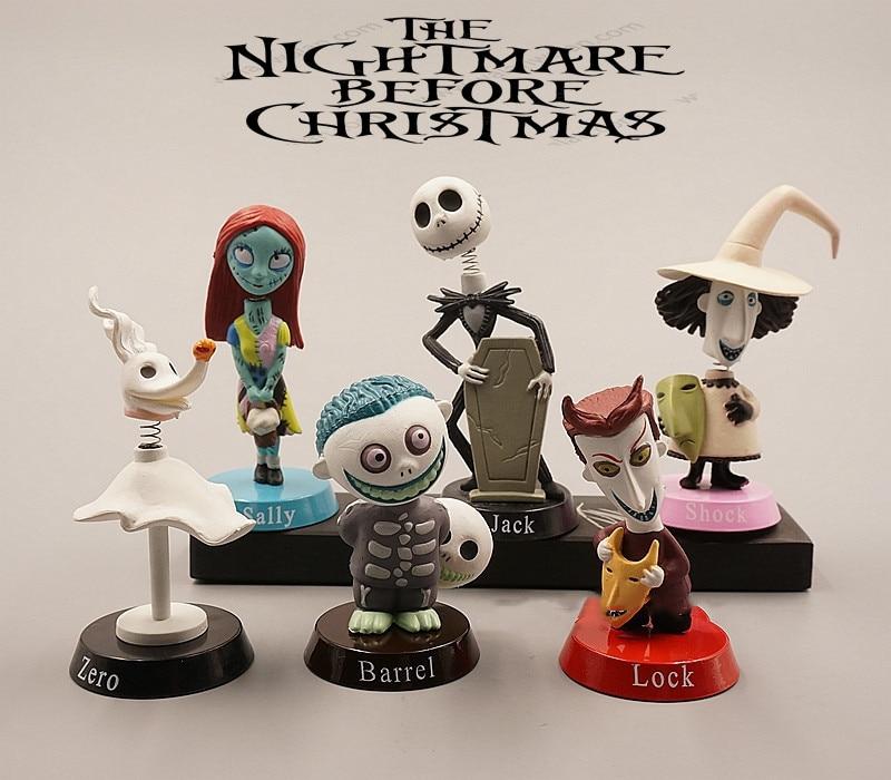 6Pcs/Set Nightmare Before  Figures Lock Sally Zero Barrel Shock Jack PVC Action Figure Toys Model Dolls Great Gift