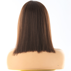 Image 4 - Medium Brown Synthetic Hair Lace Front Wigs High Temperature Fiber X TRESS Yaki Straight Short Bob Blunt Lace Wig Middle Part
