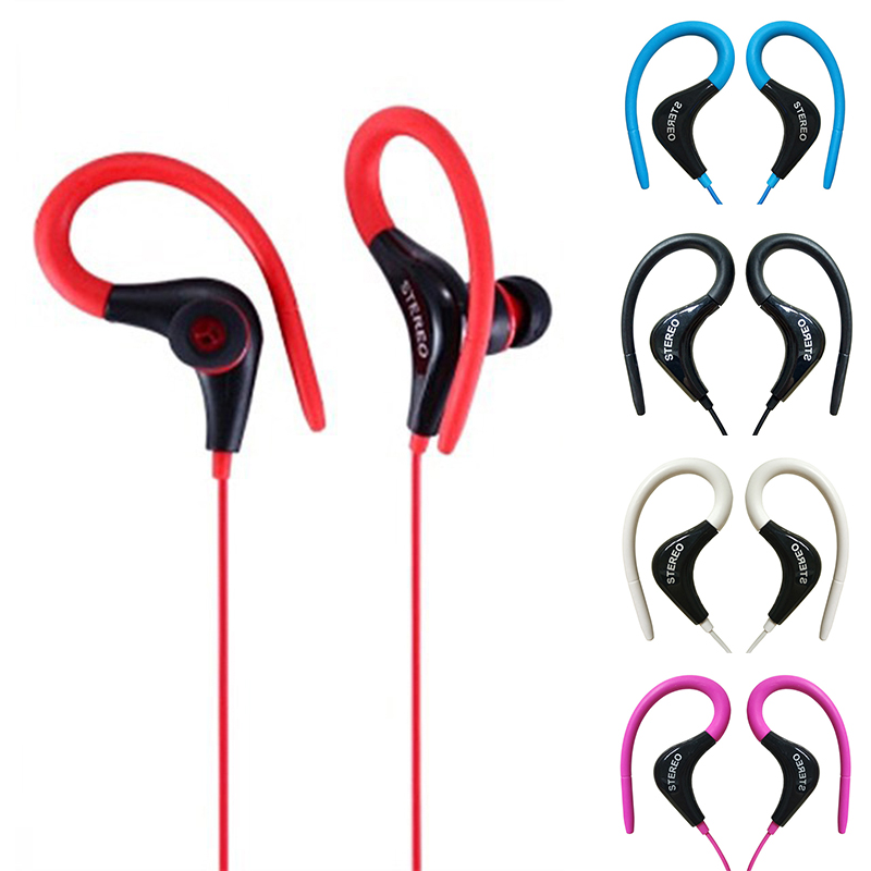 <font><b>Earhook</b></font> Universal In-ear Round Wired Sport Earphone Remote Control <font><b>Headset</b></font> With Mic HiFi Stereo Bass Earbud For Ios Android image