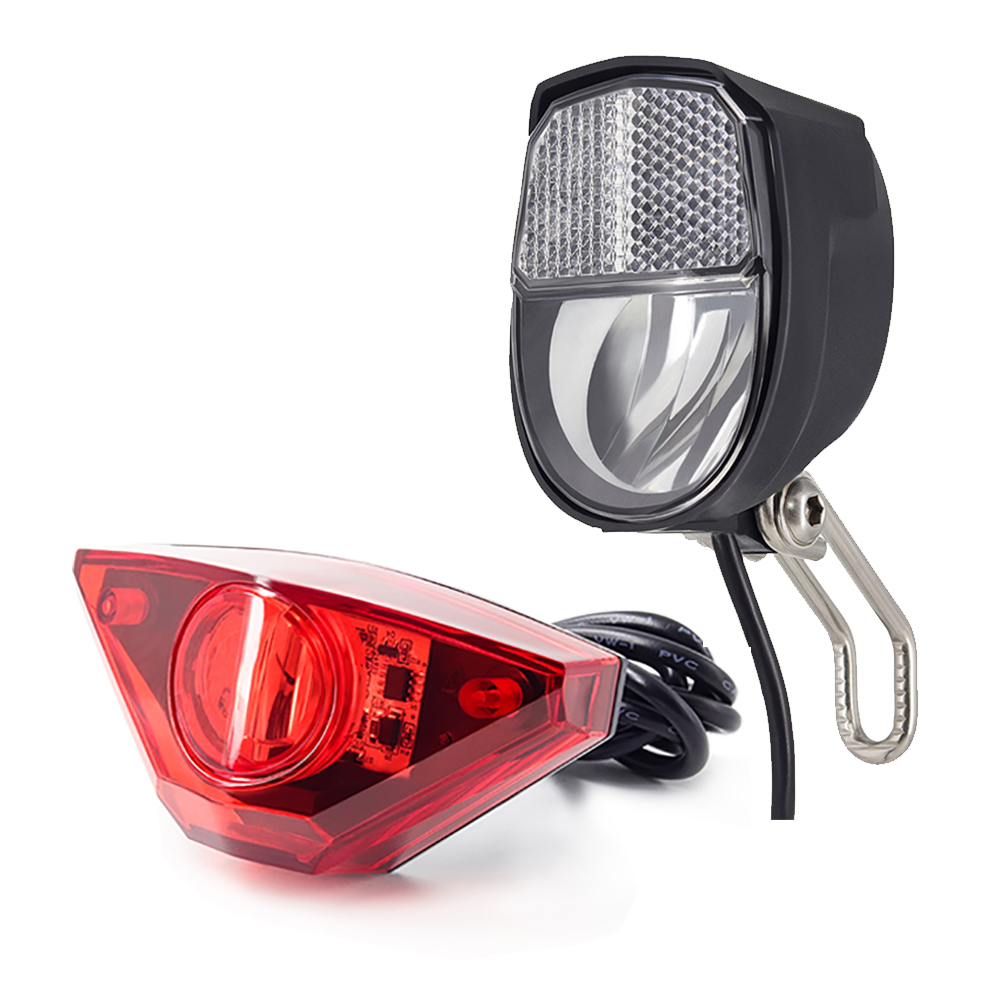 Onature Ebike Light Set With Electric Bike Headlight 70 Lux And Ebike Rear Light Input DC6V 12V 24V 36V 48V 60V LED E Bike Light