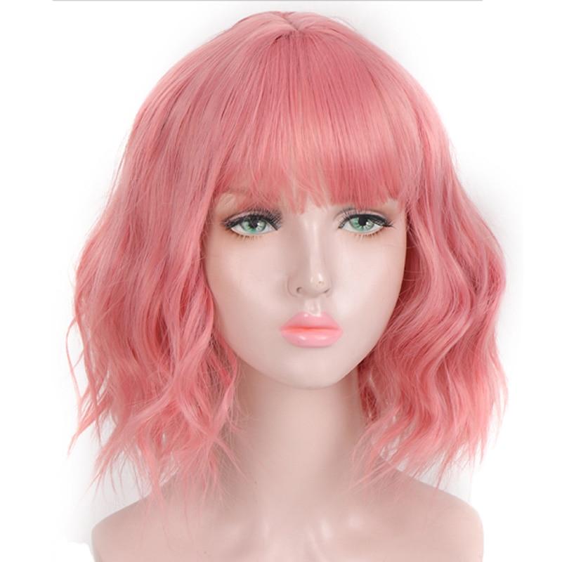 AOSI Peluca de pelo corto sintético ondulado rosa púrpura negro Bob Natural con flequillo de fibra resistente al calor Cosplay pelucas Lolita para mujeres