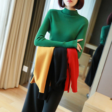 Solid Fall Sweater Knitted Pullover 2019 New Arrival Long Sleeve Half Turtleneck Knitwear Fashion Women Jumper Black Sweater half sleeve high low pullover knitwear
