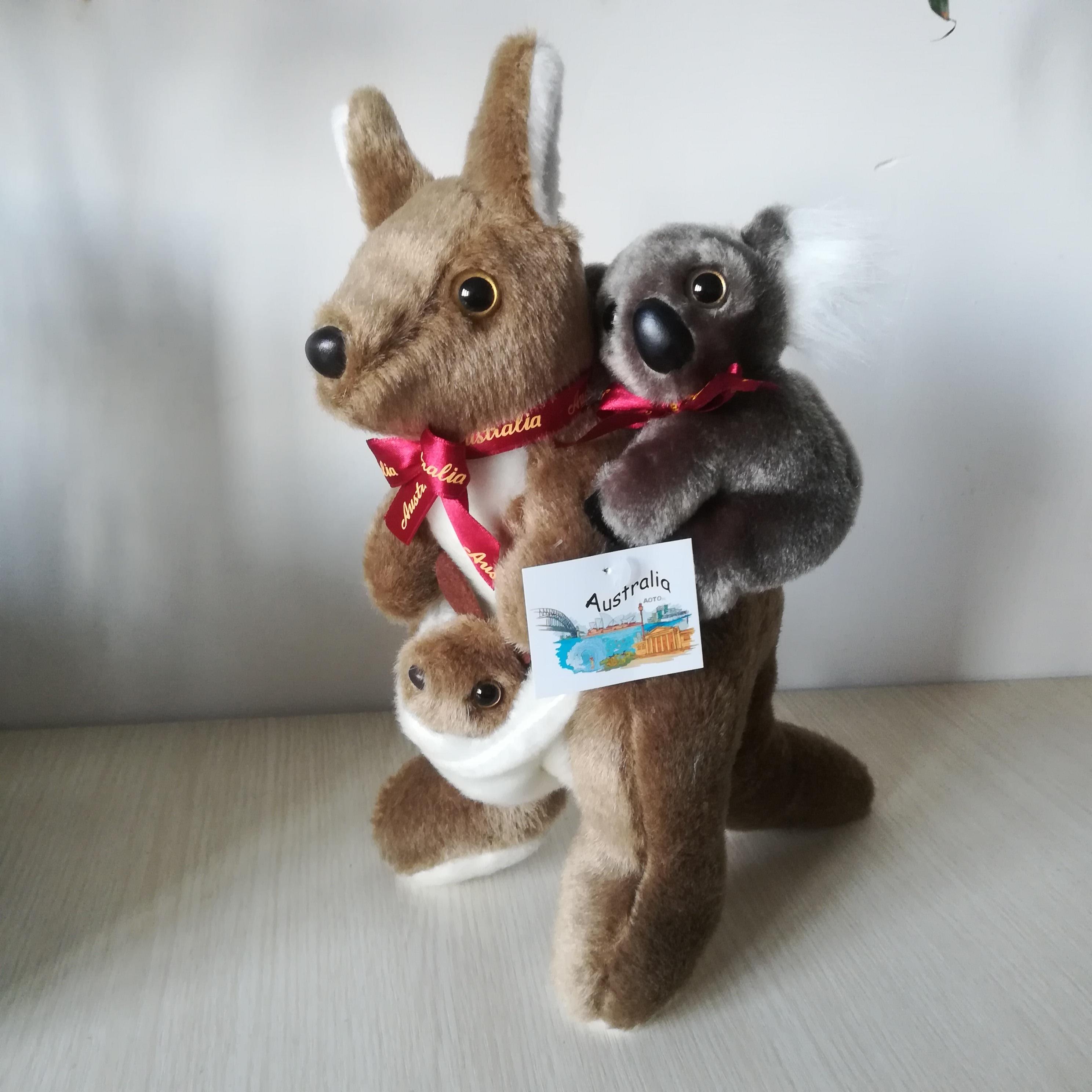 Environ 26cm mignon kangourou en peluche jouet design créatif kangourou prendre koala sur le dos doux poupée bébé jouet cadeau de noël s0737