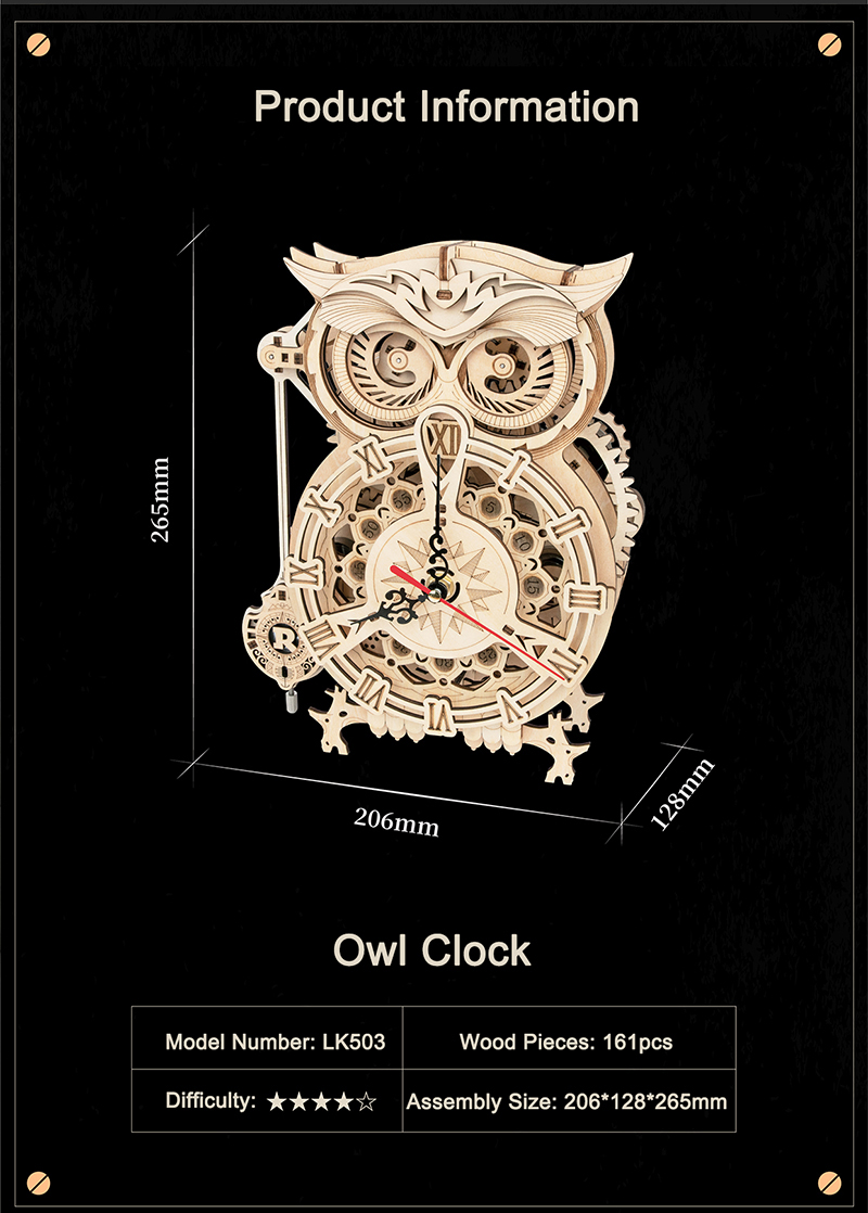 Robotime LK503 DIY Mechanical Owl Clock * New Model