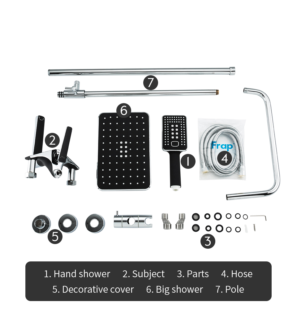 H9c99837a20b047118de39201e43c113fT Frap Bathroom Faucet Black Rain Shower Head Faucet Wall Mounted Bathtub Shower Mixer Tap Shower Faucet Shower Set Mixer F2457