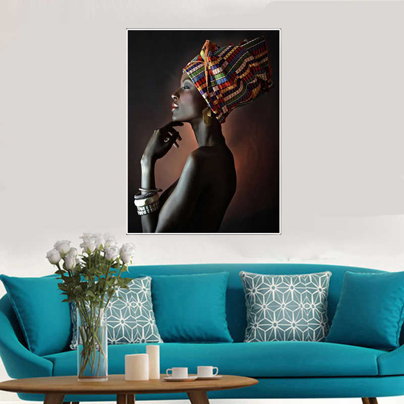 Canvas painting figure Picture wall art Picture portrait home decor painting African Nude women Headband picture art poster